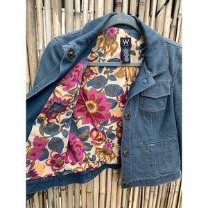 W Work to weekend Jean cropped stitched jacket sz4
